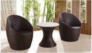 Woven furniture patio chairs and table